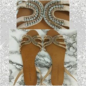 Badgley Mischka Rose Gold Jeweled Blush Sandals